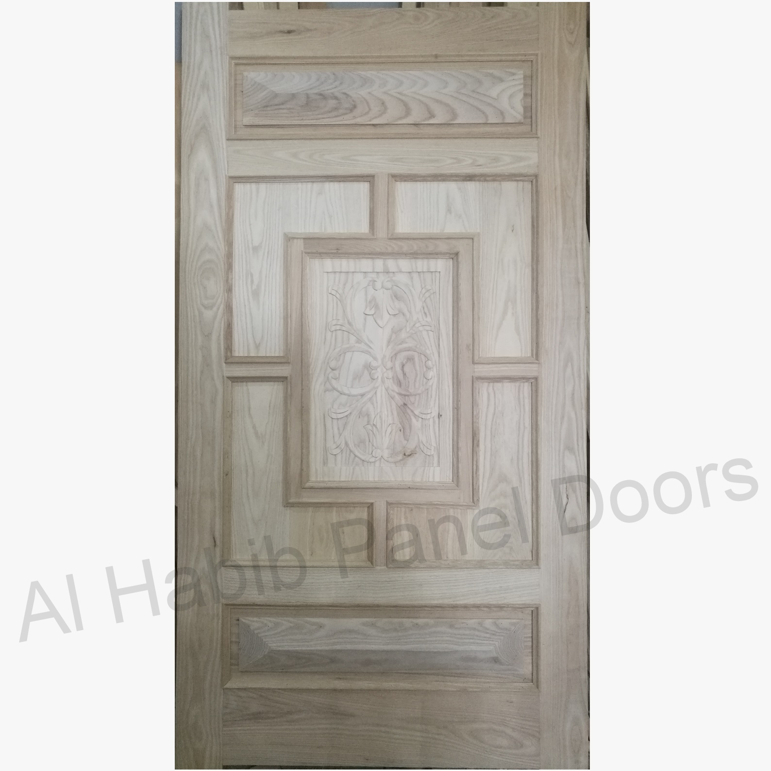 Ash Wood Door With Hand  Carving
