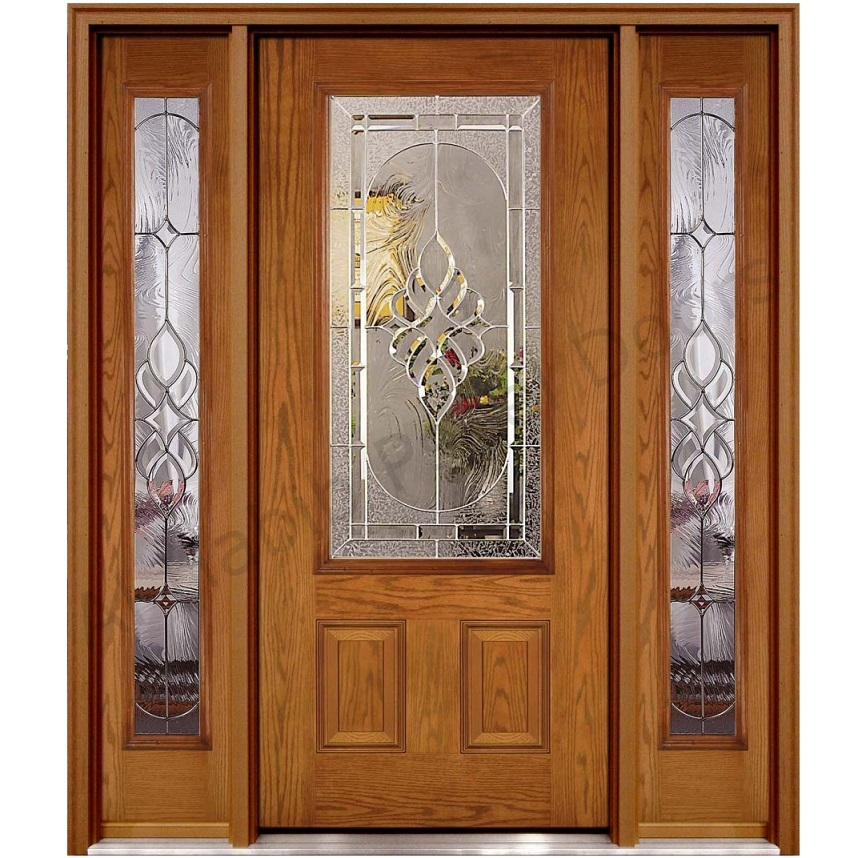 Ash wood glass panel door hpd451 glass panel doors al for Window design with door